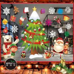 摩達客耶誕-彩色8號大雪頭繽紛裝飾聖誕樹-無痕窗貼玻璃貼*2入-優惠組合(75x35cm/張)