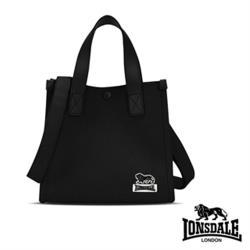 【LONSDALE 英國小獅】帆布皮革飾邊小方包 LD1325-黑色