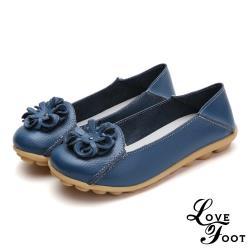 【LOVE FOOT 樂芙】真皮立體花朵兩穿法百搭軟底豆豆鞋 藍(2款任選)