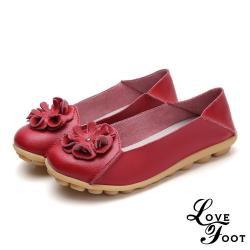 【LOVE FOOT 樂芙】真皮立體花朵兩穿法百搭軟底豆豆鞋 紅(2款任選)