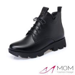 【MOM】真皮個性百搭帥氣厚底短筒馬丁靴 黑