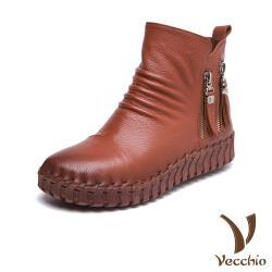 【Vecchio】頭層真皮抓摺金屬拉鍊飾手工縫線軟底休閒短靴 棕