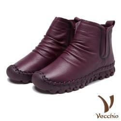 【Vecchio】頭層真皮自然摺皺切爾西短靴 酒紅