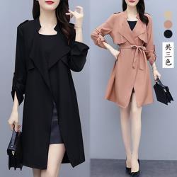 【K.W.韓國】(預購) 韓系個性年度長版風衣外套