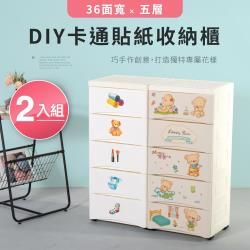 (買一送一)IDEA 卡通貼貼樂五層多功能DIY收納櫃(二款任選)