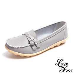 【LOVE FOOT 樂芙】真皮交叉釦帶造型休閒豆豆鞋 淺灰