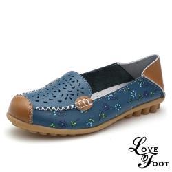 【LOVE FOOT 樂芙】真皮小花縷空百搭兩穿法休閒豆豆鞋 藍