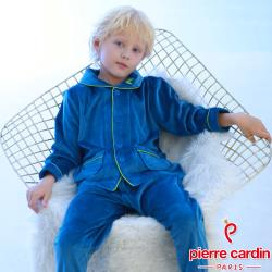 Pierre Cardin皮爾卡登 男兒童水晶絨開襟長袖衛生衣褲組(KD290016深藍色)