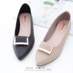 ZUCCA [z6904] 金屬細紋尖頭平底鞋-黑色/駝色