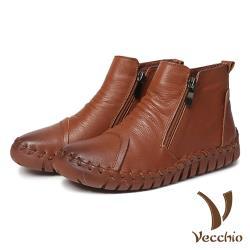 【Vecchio】頭層真皮手工縫線經典款側拉鍊休閒短靴 棕