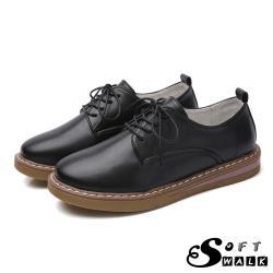 【SOFT WALK 舒步】英倫風經典綁帶舒適平底牛津鞋 黑