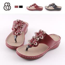 【88%】3.5CM涼鞋 MIT台灣製 氣質百搭立體花朵 皮革楔型厚底夾腳涼拖鞋 人字拖鞋