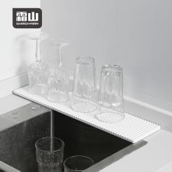 日本霜山 波浪形纖長洗手台/廚房速乾珪藻土吸水墊