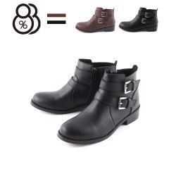 【88%】3CM短靴 MIT台灣製 率性百搭側面雙飾釦 筒高9.5CM皮革側拉鍊圓頭粗跟靴