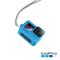 【GoPro】HERO9 Black專用矽膠護套+繫繩-藍色ADSST-003(公司貨)