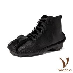 【Vecchio】真皮頭層牛皮復古方頭縷空綁帶造型軟底低跟短靴 黑