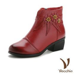 【Vecchio】真皮頭層牛皮手工編花拼接圓頭粗跟短靴 紅
