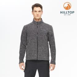 【hilltop山頂鳥】男款POLYGIENE抗菌立領保暖刷毛外套H22MY3深灰麻花