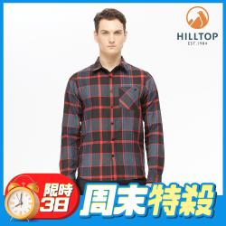 【hilltop山頂鳥】男款ThermoTech®保暖吸溼快乾格紋襯衫C05M26黑底紅格