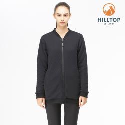 【hilltop山頂鳥】女款POLYGIENE抗菌雙面穿刷毛長版夾克H24FK2黑美人