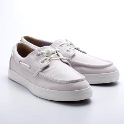 Timberland男款淺灰色帆布帆船鞋A1W4WE02