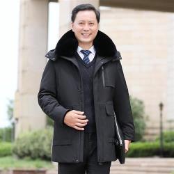 【米蘭精品】羽絨外套白鴨絨夾克-保暖毛領連帽寬鬆男外套2色73zd24
