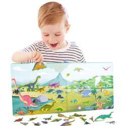 益智玩具 書本式磁鐵黏貼版 場景動物工具認知學習書
