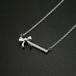 【米蘭精品】925純銀項鍊鋯石吊墜-蝴蝶結一字時尚女飾品73ze15