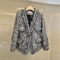 【米蘭精品】毛呢外套短版大衣-粗花呢毛邊釘珠小香風女外套2色73zg17