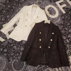 【米蘭精品】西裝外套毛呢西服-法式粗花呢亮片修身女外套2色73zg3