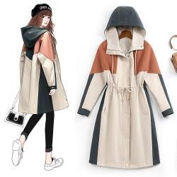 麗質達人 - 8977杏色連帽長版風衣