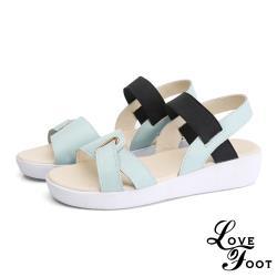 【LOVE FOOT 樂芙】真皮線條釦飾彈力織帶厚底舒適平底涼鞋 水藍