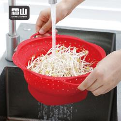 日本霜山 花朵造型高耐熱矽膠摺疊瀝水籃