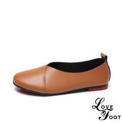 【LOVE FOOT 樂芙】真皮復古軟底圓頭舒適交叉低跟單鞋 棕