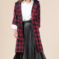 【A1 Darin】精梳法蘭棉經典格紋時尚長版上衣