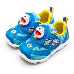 【Doraemon 哆啦A夢】中童 15cm-19cm 台灣製造 面具殼兒童電燈運動鞋(藍 90706)