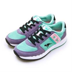 【KangaROOS】女 經典復刻慢跑鞋 COMBAT紅標袋鼠鞋系列(嫩綠紫 91057)
