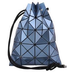 ISSEY MIYAKE 三宅一生 - 幾何方格束口式肩背/斜背包(銀河藍)亮面