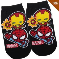 兒童襪子漫威英雄蜘蛛人鋼鐵人童襪短襪直版襪3入組15-22cm 411630【卡通小物】