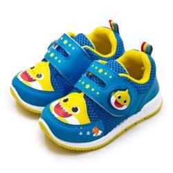 【Pinkfong 碰碰狐】中童 15cm-20cm BABY SHARK 兒童電燈運動鞋 台灣製造(藍黃 96606)