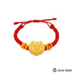 Disney迪士尼系列金飾 黃金編織手鍊-平安鎖米妮款-紅色