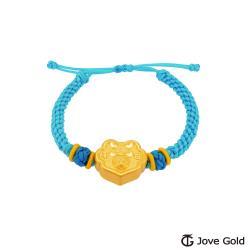 Disney迪士尼系列金飾 黃金編織手鍊-平安鎖米奇款-藍色
