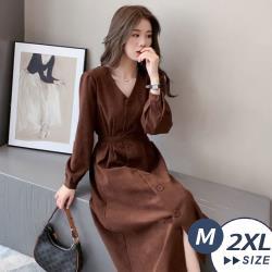 【LANNI 藍尼】現+預 法式名媛氣質長袖連身裙(連身裙/長裙/洋裝)