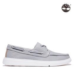 Timberland 男款中灰色織物2孔帆船鞋A4199085