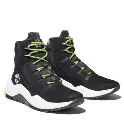 Timberland 男款黑色磨砂革織物拼接中筒瘋型鞋A2HGQ015