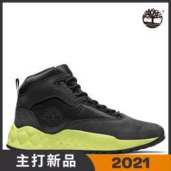 Timberland 男款黑色磨砂革配織物中筒休閒鞋A2BBF015