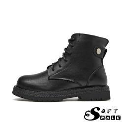 【SOFT WALK 舒步】真皮手工頭層牛皮個性釦飾馬丁款時尚短靴 黑