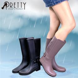Pretty 素面簡約拼接金屬皮帶扣長筒雨靴S-21793