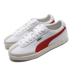 Puma 休閒鞋 Oslo City PRM 運動 男女鞋 基本款 簡約 皮革 情侶穿搭 舒適 白 紅 37480002 [ACS 跨運動]