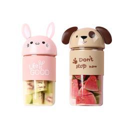 【Victank】卡通造型電動果汁杯(棕狗/粉兔)